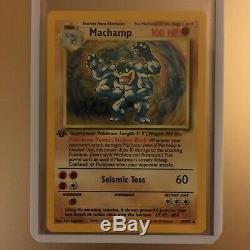 Carte Pokémon Machamp Holographique 1ère Édition Rare 8/102 Très Bonne Condition