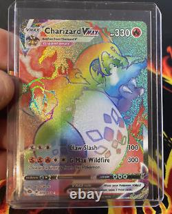 Carte Pokémon Rainbow Rare Charizard Vmax 74/73 Champions Path Pack Fresh Mint