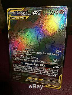 Carte Pokemon Reshiram Et Charizard Gx Secret / Arc-en-rare # 217 Sm Ub Mint