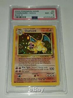 Carte Rare De Pokemon De Charizard Holo Psa Nm-mint Base Set 2 Original Foil # 4