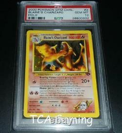 Charizard 2/132 Gym Défi Holo Rare Carte Pokémon De Psa 10 Gem Mint Blaine