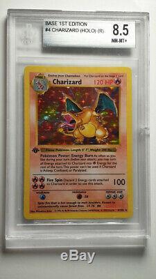 Charizard 4/102 Base Set 1ère Édition Bgs 8.5 Mint Holo Rare Carte Pokemon