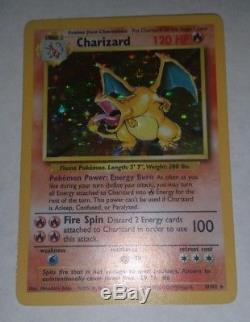 Charizard 4/102 Base Set Holo Rare Pokemon Carte Près De La Monnaie 1999
