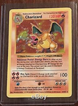 Charizard 4/102 Base Set Shadowless Extrêmement Rare Carte Pokemon Holo Bonne Cond
