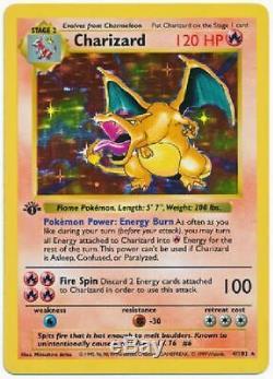 Charizard 4/102 Near Mint Holo Rare 1st Edition Carte Pokémon