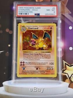 Charizard 4/102 Psa 8 Nm-mt Rare Holo Shadowless Set Carte Pokémon De Base 667