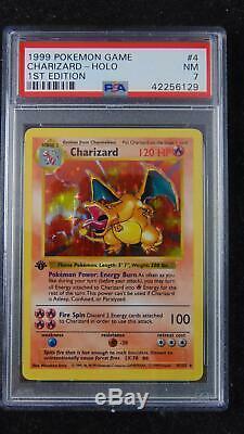 Charizard 4/102 Set De Base 1ère Édition Psa 7 Near Mint Holo Rare Pokemon Card