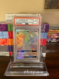 Charizard Gx 150 Hyper Rare Psa 10 Burning Shadows Card Stand Inclus