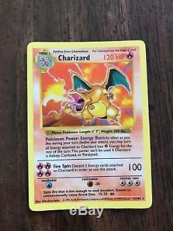 Charizard Holo Première Édition De La Carte Pokemon Shadowless Carte D'erreur Rare 4/102
