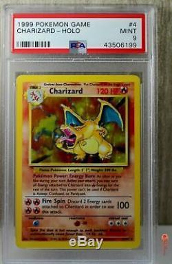 Charizard Holo Rare 1999 Wotc Carte Pokémon 4/102 Set De Base Psa 9 Mint
