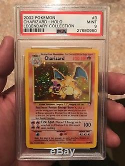 Charizard Holo Rare 2002 Wotc Pokemon Card 3/110 Ensemble Légendaire Psa 9 Mint