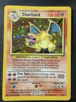 Charizard Holo Rare Pokemon Carte Set 4/102 Vintage Véritable Vieux Près De La Menthe
