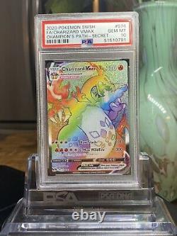 Charizard Rainbow Vmax Psa 10 Champions Path 074/073 Secret Rare Pokemon Carte