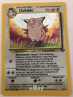 Clefable 1/64 Prerelease Carte Pokemon Jungle Holo Trouve Un Attique Trop Rare