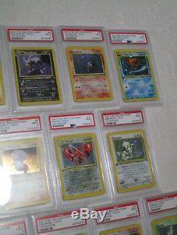 Complet Psa 9 Mint Neo Genesis 1ère Édition Holo Rare Pokemon Cartes 1-19 B40