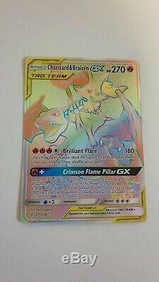 Dracaufeu & Braixen Gx 251/236 Rainbow Hyper Rare Carte Pokemon Cosmic Eclipse