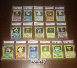 Ensemble De Base Complet Vintage Pokemon Rare Psa 9 Neuf 1-16 Cartes Originales Holos