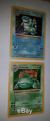Ensemble De Base De Venusaur Sans Ombres Et Blastoise Sans Ombres Cartes Pokemon Holo Très Rares