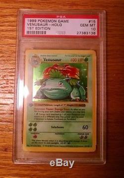 Gem Mint 10 Ensemble De Base Pour La 1ère Édition Venusaur Holo Rare 15/102 Pokémon Card