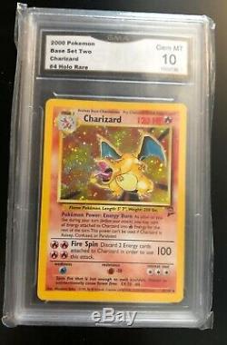 Gem Mint Gma Psa 10 Graded 2000 Base 2 Holo Charizard Rare # 4 Carte Pokemon