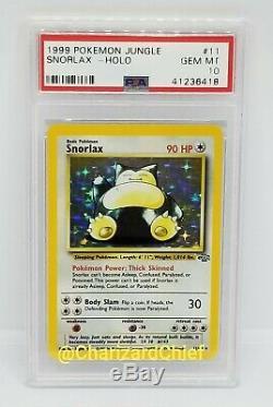 Gem Mint Psa 10 Snorlax Holo Carte Pokemon Rare Collection Set Jungle 11/64 Foil