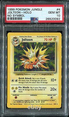 Jolteon Jungle No Symbol Holo 4/64 Psa 10 Gem Mint Pokemon 1999 Carte Wotc Tcg