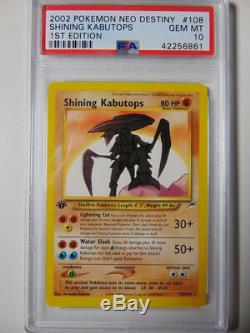 Kabutops Brillant 108/105 Carte Pokémon Menthe Psa 10 Neo Destiny 1ère Édition