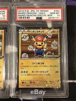 Mario & Luigi Pikachu Psa 10 Promo F. un Ensemble De 4 Cartes Pokemon Mint Gem Mint Rare