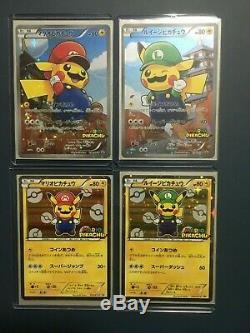 Mario Luigi Pikachu Set 4 Carte Pokémon Japonaise Pcg Promo Holo Rare Nm
