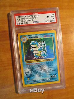 Nm Psa-8 Pokemon Blastoise Card Base Set 2/102 Pas De Scène Erreur / Misprint Holo Rare