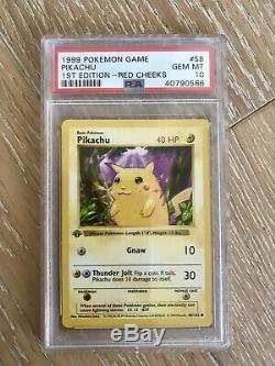 Pikachu 1ère Édition 1999 Carte Pokemon 58 Red Cheeks Psa 10 Détective De Menthe