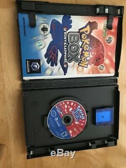 Pokemon Box Gamecube 100% Cib Carte Mémoire + Câble De Liaison + Boîtier Externe Tres Rare