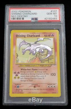 Pokémon Brillant Charizard 107/105 Psa 10 Secret Holo Rare Card Gem Mint 10