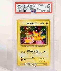 Pokemon Card 1998 2001 Natta Wake Anniversaire Pikachu 2 Cartes # 25 Psa 9