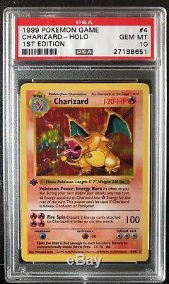 Pokemon Card 1ère Édition Shadowless Charizard 4/102 Psa 10 Gem Mint