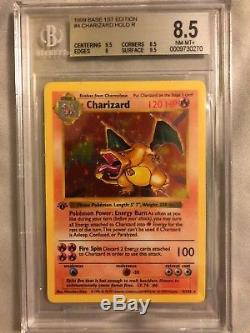 Pokémon Card 1ère Édition Shadowless Charizard Holo Base Rare Set Bgs 8.5