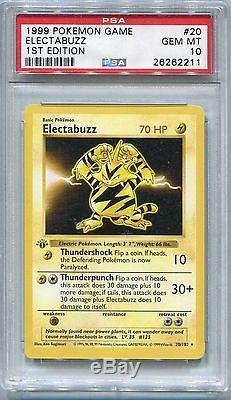 Pokemon Card 1st Edition Shadowless Electabuzz Base Set 20/102, Psa 10 Gem Mint