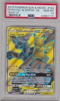 Pokemon Card Psa 10 Gem Mint Pikachu & Zekrom Gx 162/181 Ultra Rare Team Up