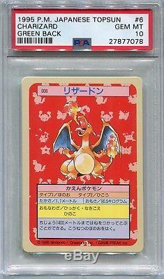 Pokemon Carte Japonais 1995 Topsun Charizard Vert Dos, Psa 10 Gem Mint