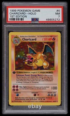 Pokemon Psa 7 Mint Charizard 1ère Édition Base Set 1999 Carte # 4 Brillant