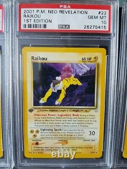 Pokemon Rare Card Set Entei Raikou Suicune Neo Revelation 1ère Édition Psa 10