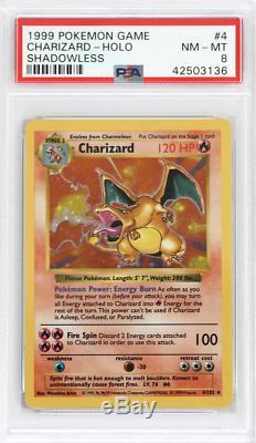 Pokemon Shadowless De Base # 4 Charizard Holo Psa 8 Carte-mint Mint Rare