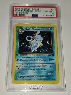 Première Édition Rare De Dark Blastoise Team Rocket Pokemon Carte 3/82 Holo Psa 1ère Éd.