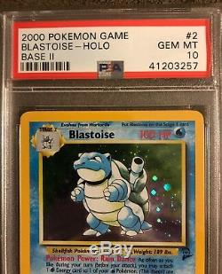 Psa 10 Blastoise Base II 2 Set 2000 Carte Pokemon Rare Holo Gem Menthe