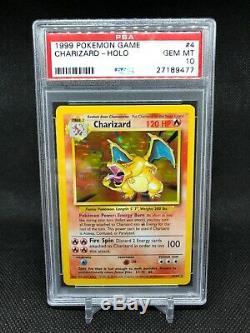 Psa 10 Charizard Base Set Illimité Holo Rare Wotc 1999 Carte Pokemon