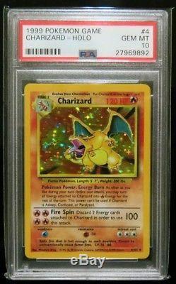 Psa 10 Charizard English Set 4 Cartes Pokémon Illimité Rare Avec Green Wings