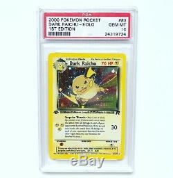 Psa 10 Gem Mint 1ère Édition De L'équipe Rocket Foncé Raichu Holo Carte Pokemon # 83/82
