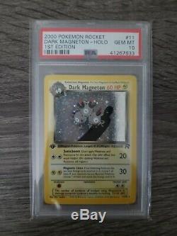 Psa 10 Gem Mint Carte Pokémon Holo Rare Équipe Rocket 1ère Édition Sombre Magneton
