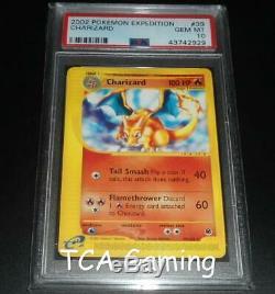 Psa 10 Gem Mint Charizard 39/165 Expediton De Base Rare Carte Pokemon