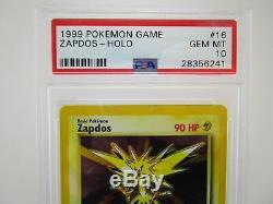 Psa 10 Gem Mint Ensemble De Base Zapdos Illimité Holo Rare Pokemon Carte 16/102 M10